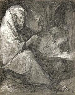 VAN BIESBROECK Jules. Arab women working. Pastel on grey paper.