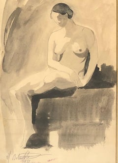 DELMOTTE Marcel. Seated nude. Washed ink drawing.