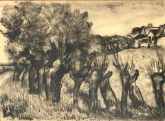 JESPERS Floris. Landscape. Charcoal drawing. Signed.