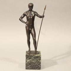 MOLITOR Mathieu. Athlete with spear. Bronze. Signed. Marble base.