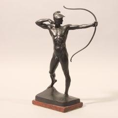 GEYGER Ernst Moritz. The archer. Bronze. Signed. Marble base.