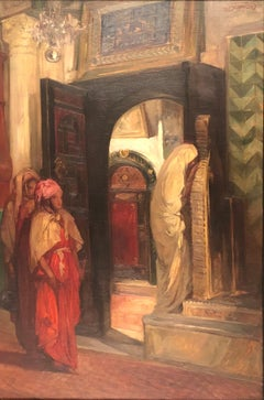 VAN BIESBROECK Jules. Algerian women in an interior. Oil on panel. Signed.
