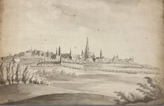 HUBER Johann Kaspar. View of a city thought to be Antwerp. Wasked ink.