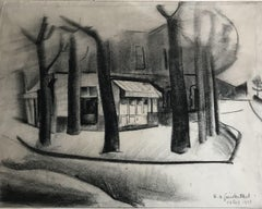 Roger VAN GINDERTAEL. Paris street view. Charcoal drawing. Signed / dated 1928.