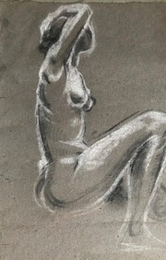 Hubert YENESSE. Study of a naked woman.Mixed media. Signed.