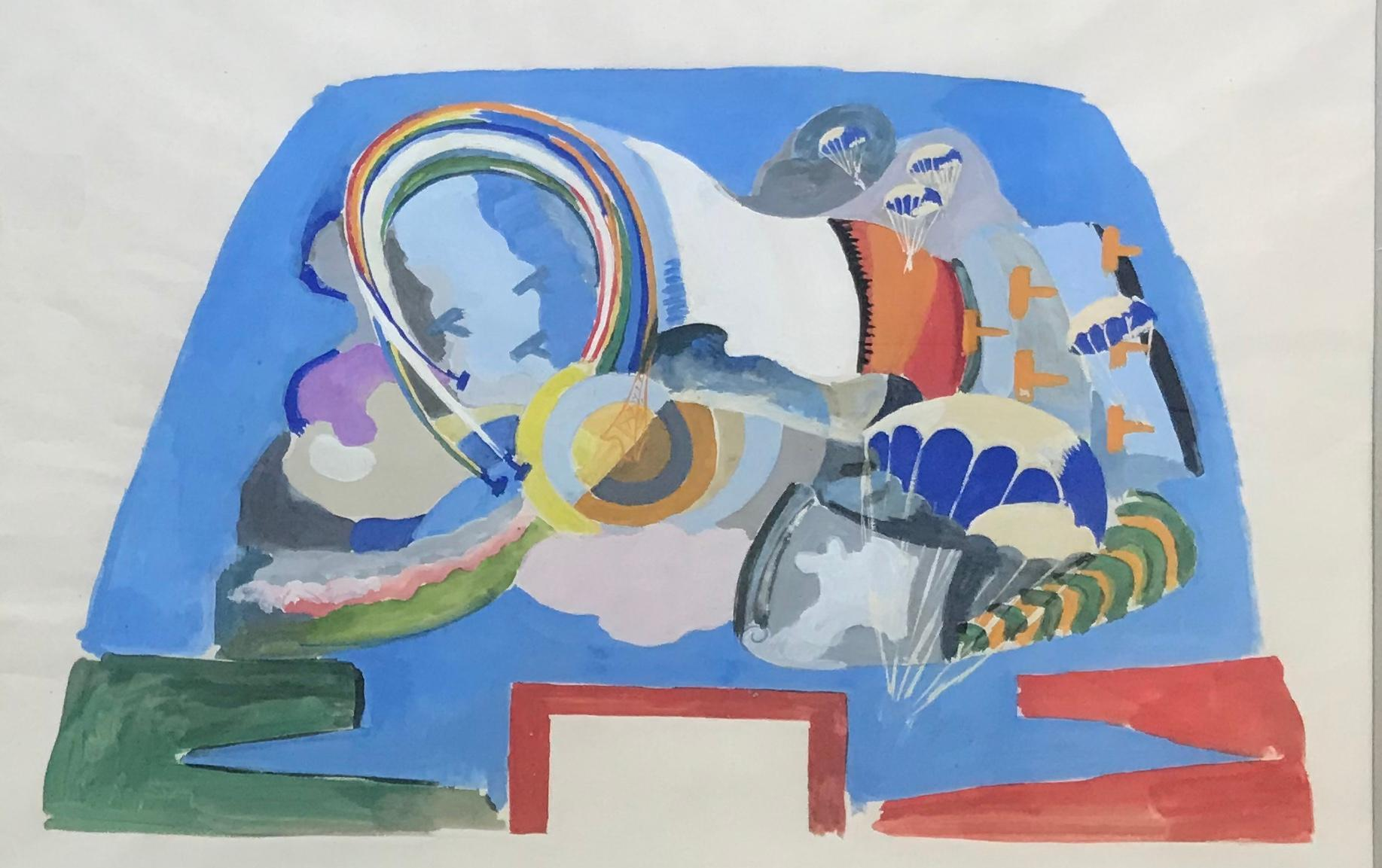 Study fot he tronconic hall of the Air Palace, 1937. Gouache on paper.