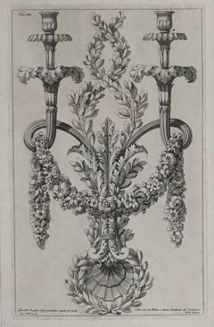 Chandelier designs. A pair of engravings