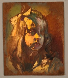 Portrait of the grand daughter of the artist. Oil on panel. Signed.