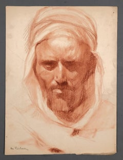 Study of an arab. Red pastel.