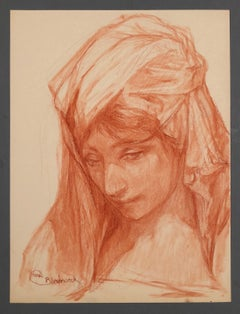 Study of an arab women. Red pastel. Signed.