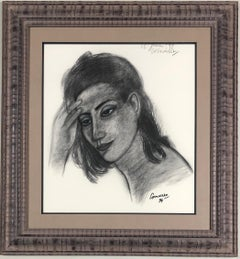 Portrait of a woman. Charcoal. Signed and dated '25th of June (19)99'