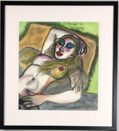 Naked woman. Coloured pencil. Signed and dated '8th of August '91'.