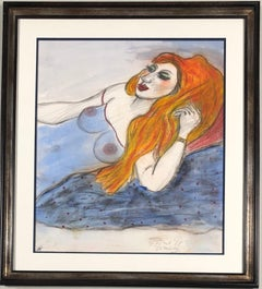 Red headed woman. Coloured pencil. Signed and dated '7th of April (19)88'.