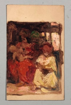 Family scene. Oil sketch on cardboard.