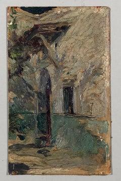 'Cours de maison Blida'. Oil sketch on cardboard. Signed and titled on the back.