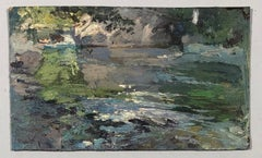 Lake view. Oil sketch on cardboard.