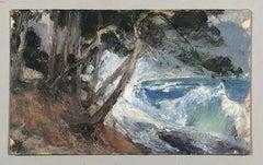 View of a rough Mediterranean sea. Oil sketch.