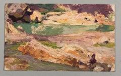Sunny landscape. Oil sketch on cardboard.