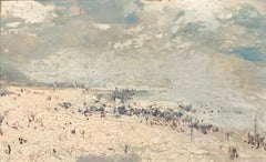 View of Ostend. Oil sketch on cardboard. Signed and titled.