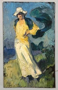 Woman in a summer landscape. Oil sketch.