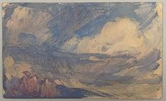 VAN BIESBROECK Jules. Landscape. Oil sketch on cardboard.