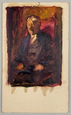 VAN BIESBROECK Jules. Portrait of a man. Oil sketch on cardboard.