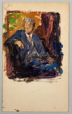VAN BIESBROECK Jules. Portrait of a man . Oil sketch on cardboard. Unsigned.