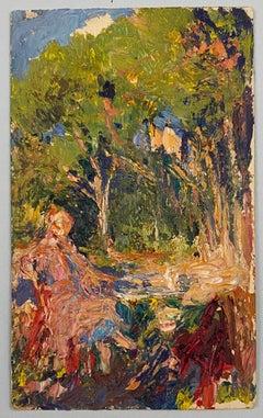 VAN BIESBROECK Jules. Woman in a garden. Oil sketch on cardboard.