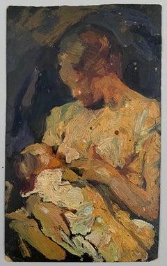 VAN BIESBROECK Jules. Woman and child. Oil sketch on cardboard.