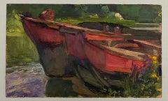 VAN BIESBROECK Jules. Boats on a lake. Oil sketch on cardboard.