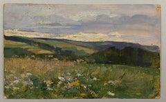 VAN BIESBROECK Jules. Summer landscape. Oil sketch on cardboard.