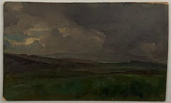 Cloudy landscape. Oil sketch on cardboard. Unsigned.