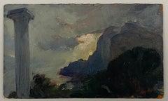 VAN BIESBROECK Jules. View in Sicily. Oil sketch on cardboard. Unsigned.
