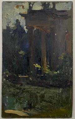 VAN BIESBROECK Jules Park view. Oil sketch on cardboard.