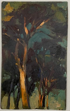 VAN BIESBROECK Jules Study of trees at  night. Oil sketch on cardboard.