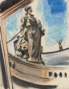 CLAES-THOBOIS Albert. Statue. Pastel. Signed and dated 1929.