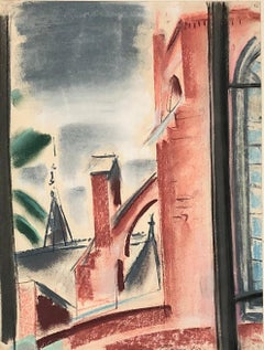 CLAES-THOBOIS Albert. Roof view. Pastel. Signed and dated 1929.