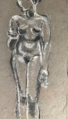Hubert YENESSE. Study of a naked woman. Mixed media. Signed.