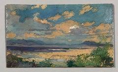 'Plaines de la Midjeda Blida'. Oil sketch on cardboard. Signed and titled.