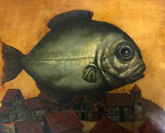 Fish, Surrealism, Original oil Painting, Handmade artwork