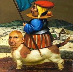 Winter Rhapsody, Surrealism, Original oil Painting, Handmade artwork