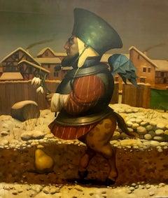 Winter Rapsody Figurative Surrealism, Original oil Painting