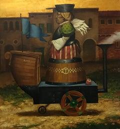Taxi Service, Figurative Surrealism, Original oil Painting
