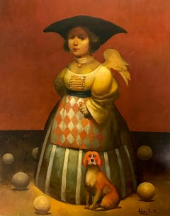 Lady with a red Dog, Figurative Surrealism, Original oil Painting