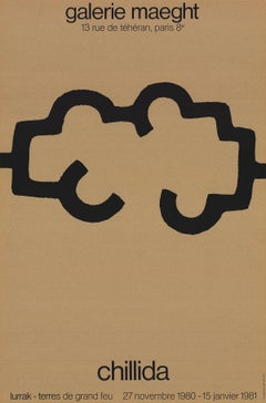 """Eduardo Chillida-Galerie Maeght-29.75"""" x 19.5""""-Lithograph-1980-Abstract-Brown"""