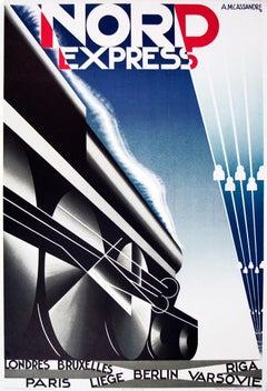 """A.M. Cassandre-Nord Express-40"""" x 27.75""""-Lithograph-1980-Vintage-Blue, Black"""
