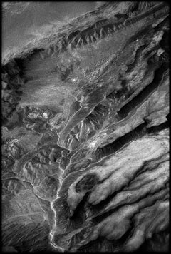 Colorado - Black and White Aerial Landscape Photograph of River Veins