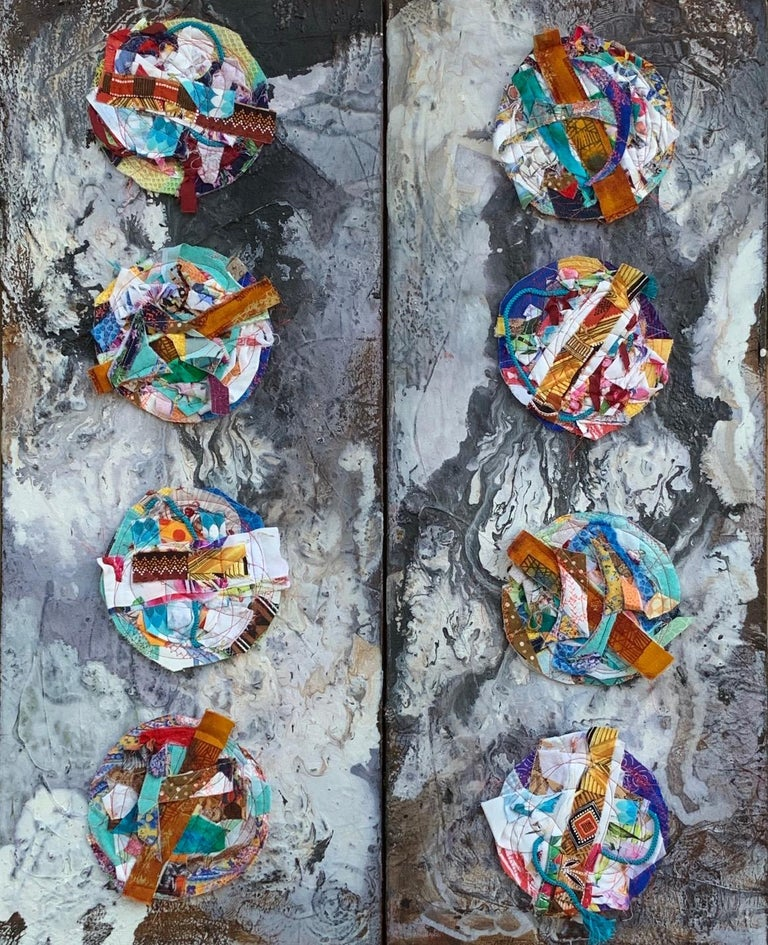 Jennifer Blalack Abstract Painting - Worlds - Abstract Diptych Impasto Texture with Textile and Fiber in Grey & White
