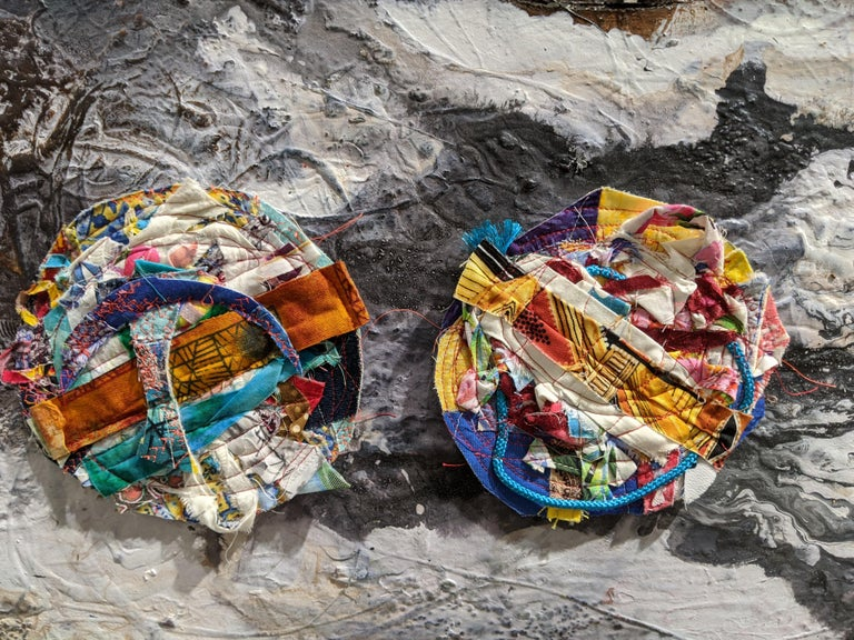 Worlds - Abstract Diptych Impasto Texture with Textile and Fiber in Grey & White - Painting by Jennifer Blalack
