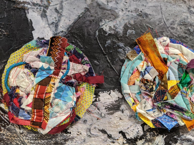 Worlds - Abstract Diptych Impasto Texture with Textile and Fiber in Grey & White - Gray Abstract Painting by Jennifer Blalack